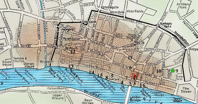 Lane Fire Map.Pepys Diary Map 4
